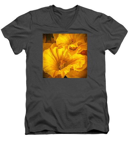 Yellow Flowers Men's V-Neck T-Shirt by Lewis Mann