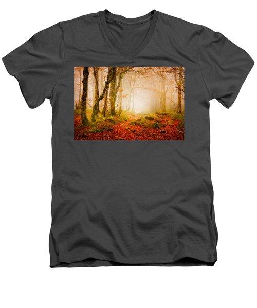 Yellow Forest Mist Men's V-Neck T-Shirt