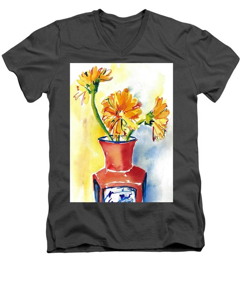 Yellow Gerbera Daisies In A Red And Blue Delft Vase Men's V-Neck T-Shirt