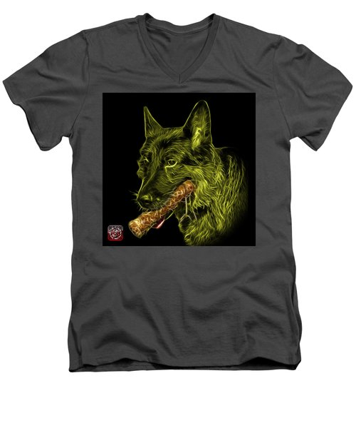 Yellow German Shepherd And Toy - 0745 F Men's V-Neck T-Shirt