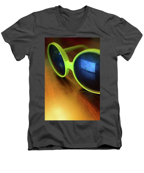 Men's V-Neck T-Shirt featuring the photograph Yellow Goggles With Reflection by Carlos Caetano