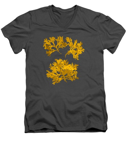Men's V-Neck T-Shirt featuring the mixed media Yellow Gold Seaweed Art Delesseria Alata by Christina Rollo