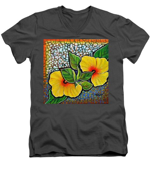Yellow Hibiscus A Decorative Painting With Mosaic Style On Sale Men's V-Neck T-Shirt