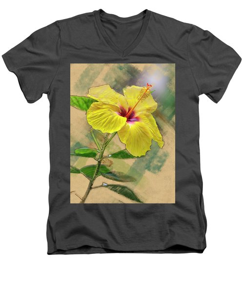 Yellow Hibiscus Men's V-Neck T-Shirt
