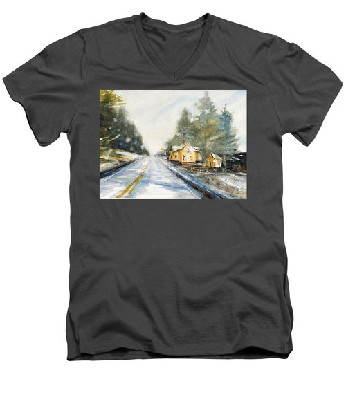 Yellow House On The Right Men's V-Neck T-Shirt by Judith Levins