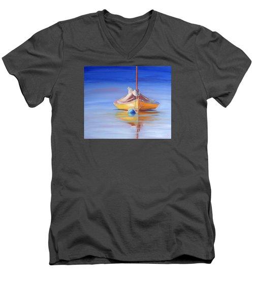 Yellow Hull Sailboat Iv Men's V-Neck T-Shirt by Trina Teele