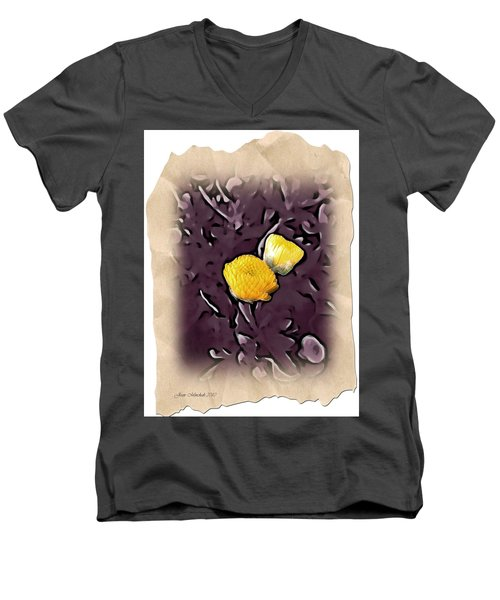 Men's V-Neck T-Shirt featuring the photograph Yellow In Purple by Joan  Minchak