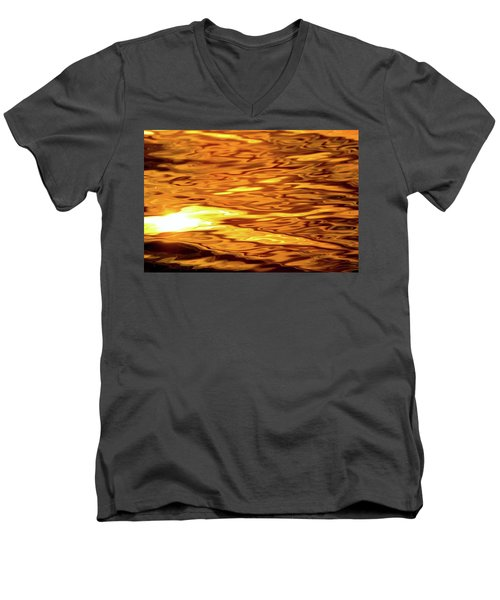Yellow Light On Water  Men's V-Neck T-Shirt by Lyle Crump