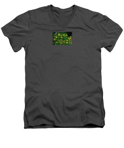 Men's V-Neck T-Shirt featuring the photograph Yellow Lily Flowers by Susanne Van Hulst