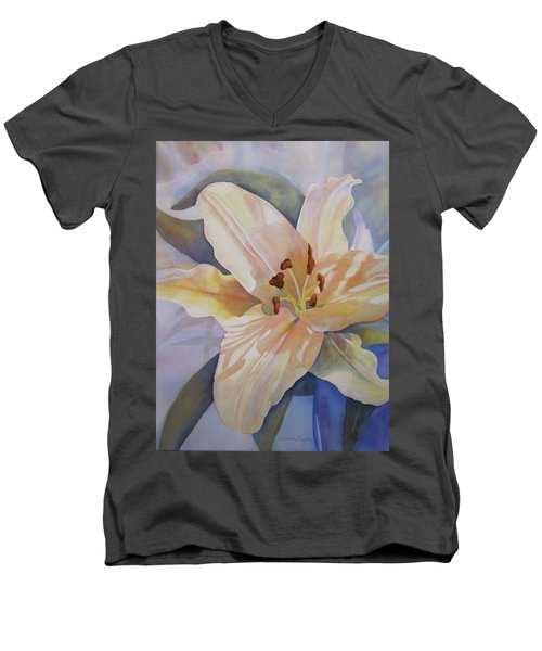 Men's V-Neck T-Shirt featuring the painting Yellow Lily by Teresa Beyer