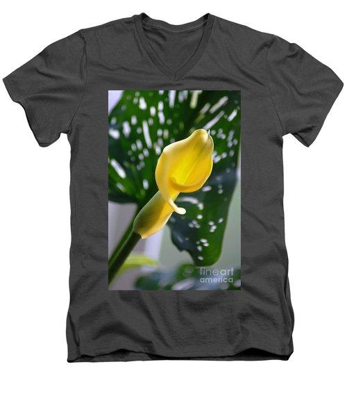 Yellow Mini Calla Lilies Men's V-Neck T-Shirt