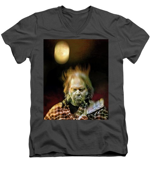 Yellow Moon On The Rise Men's V-Neck T-Shirt by Mal Bray
