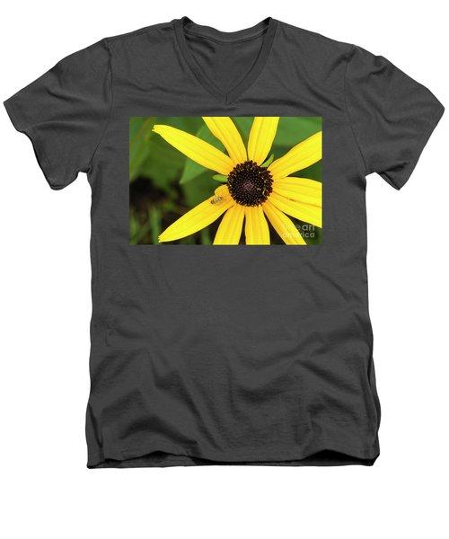 Yellow Petaled Flower With Bug Men's V-Neck T-Shirt