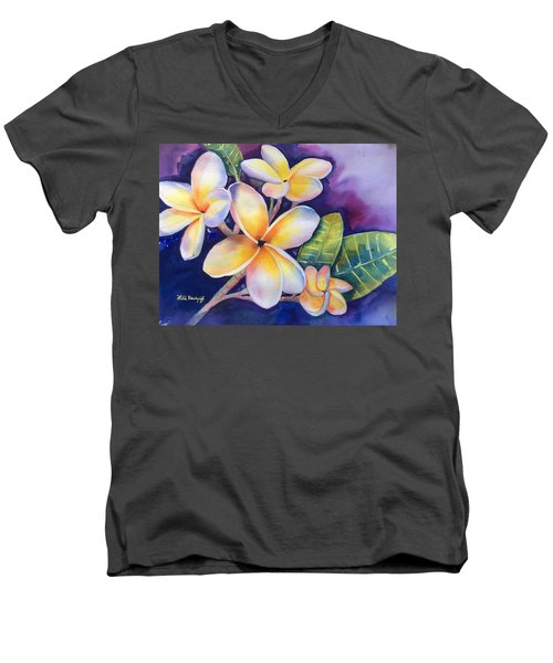 Yellow Plumeria Flowers Men's V-Neck T-Shirt
