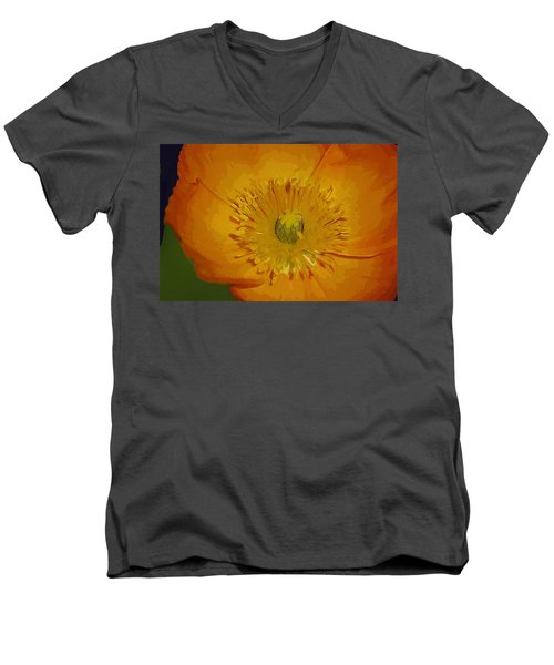 Men's V-Neck T-Shirt featuring the photograph Yellow Poppy by Donna Bentley
