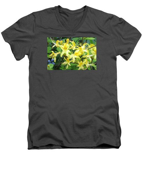 Men's V-Neck T-Shirt featuring the photograph Yellow Rhododendron by Carla Parris