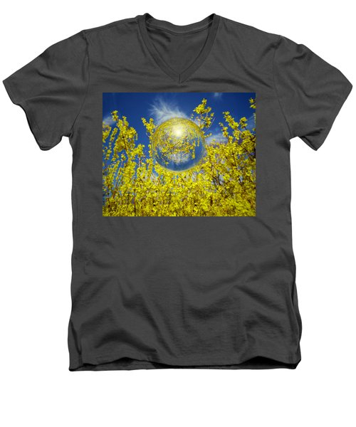 Men's V-Neck T-Shirt featuring the photograph Yellow by Robert Geary