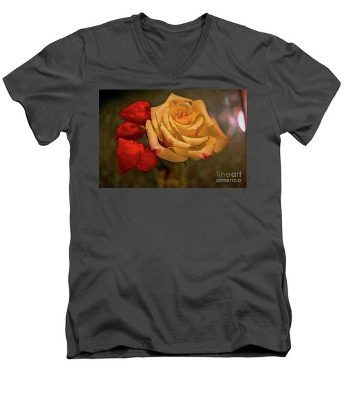 Men's V-Neck T-Shirt featuring the photograph Yellow Rose And Chinese Lanterns by Diana Mary Sharpton