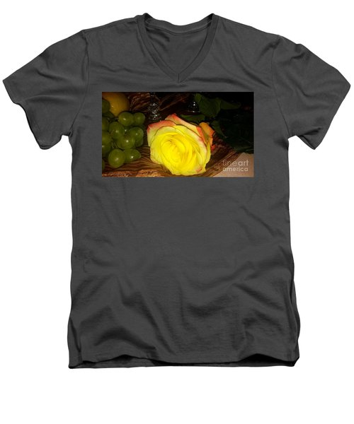 Yellow Rose And Grapes Men's V-Neck T-Shirt
