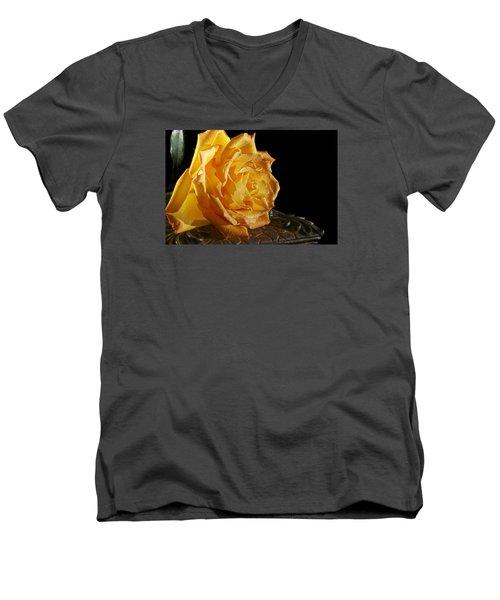 Yellow Rose Men's V-Neck T-Shirt by Robert Och