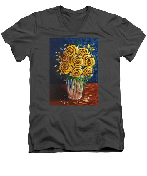 Men's V-Neck T-Shirt featuring the painting Yellow Roses by Katherine Young-Beck