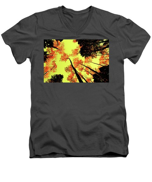 Men's V-Neck T-Shirt featuring the photograph Yellow Sky, Burning Leaves by Kevin Munro