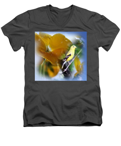 Yellow Spring Men's V-Neck T-Shirt by Cathy  Beharriell