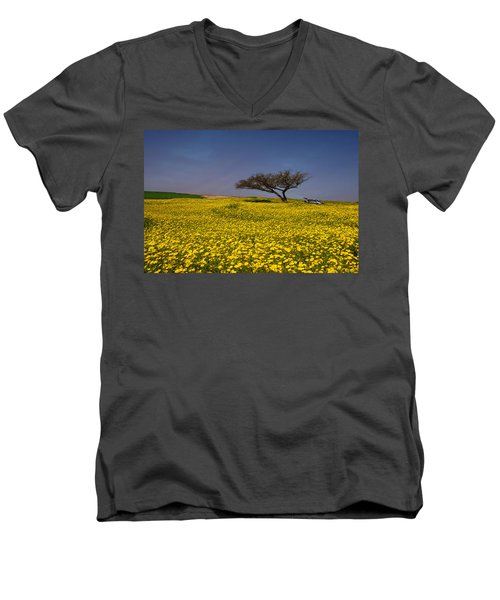 Yellow Spring Men's V-Neck T-Shirt by Uri Baruch