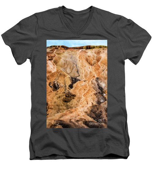 Men's V-Neck T-Shirt featuring the photograph Yellow Stone National Park Abstract by Mae Wertz