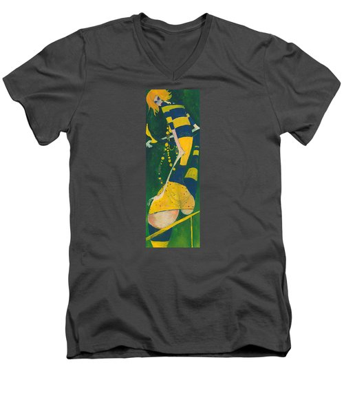 Men's V-Neck T-Shirt featuring the painting Yellow Stripes by Maya Manolova