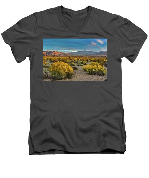 Men's V-Neck T-Shirt featuring the photograph Yellow Sunrise by Peter Tellone