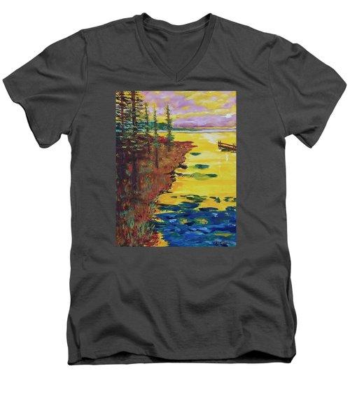Yellow Sunset Men's V-Neck T-Shirt by Mike Caitham