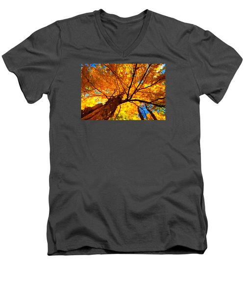Yellow Tree Men's V-Neck T-Shirt by Andre Faubert