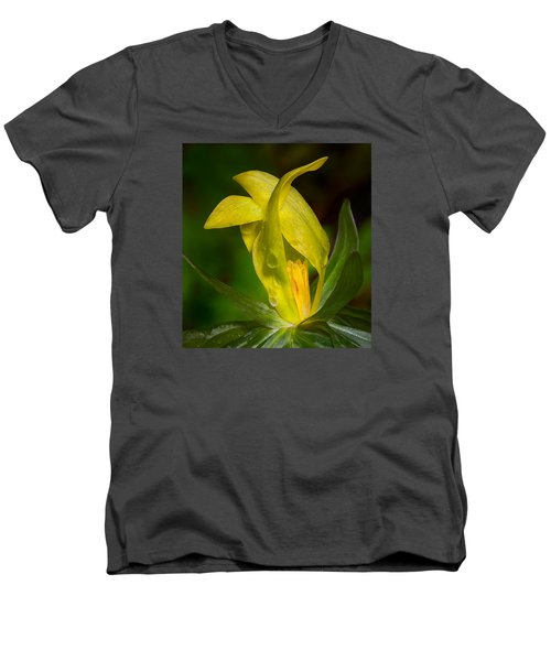 Men's V-Neck T-Shirt featuring the photograph Yellow Trillium by Tyson and Kathy Smith