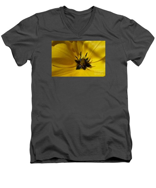 Yellow Tulip 1 Men's V-Neck T-Shirt by Jean Bernard Roussilhe