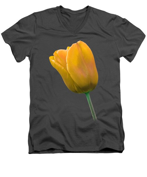 Yellow Tulip On Black Men's V-Neck T-Shirt by Gill Billington