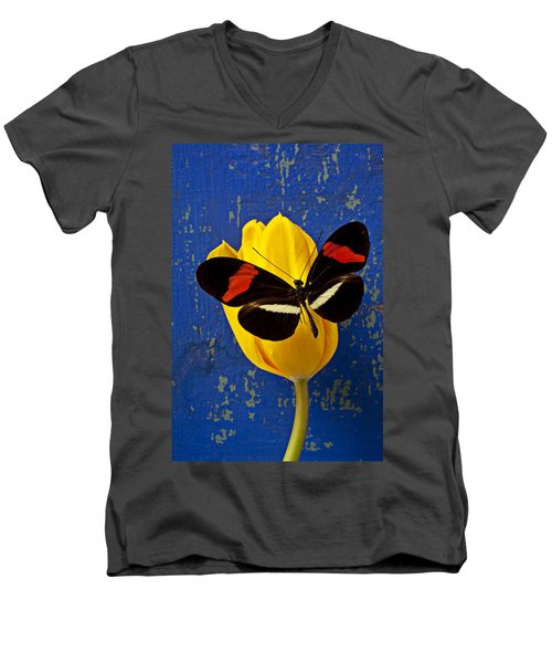 Yellow Tulip With Orange And Black Butterfly Men's V-Neck T-Shirt by Garry Gay