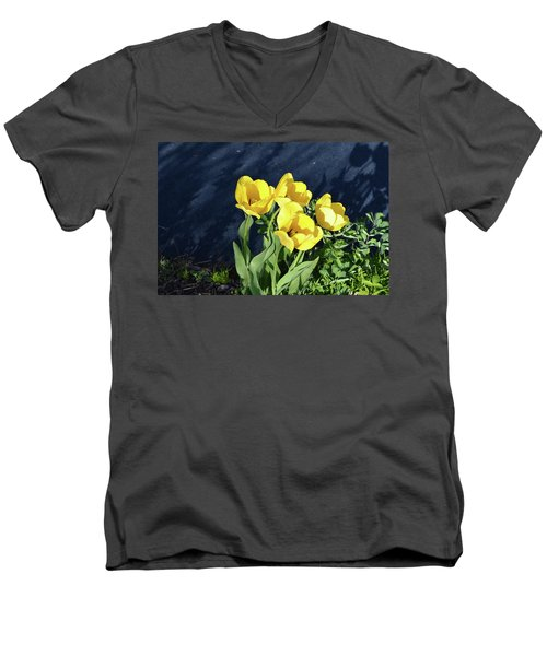 Men's V-Neck T-Shirt featuring the photograph Yellow Tulips by Kathleen Stephens