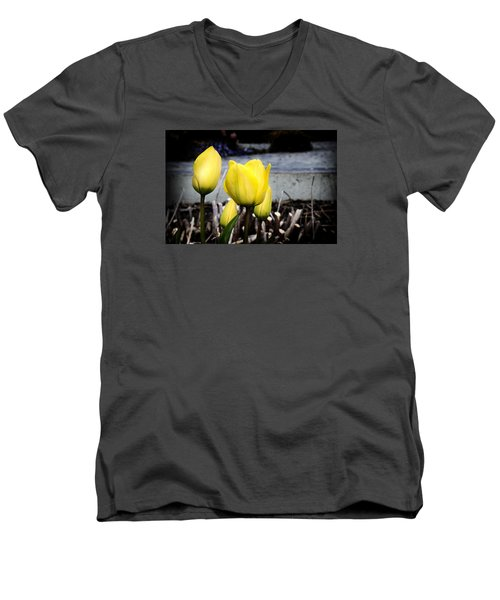 Yellow Tulips Men's V-Neck T-Shirt by Milena Ilieva