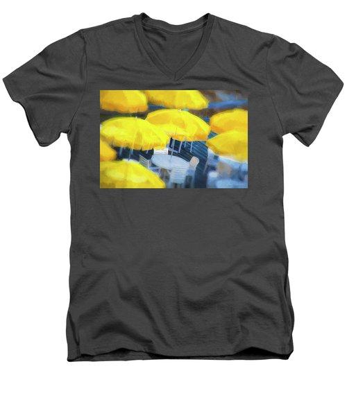 Yellow Umbrellas Men's V-Neck T-Shirt by Glenn Gemmell