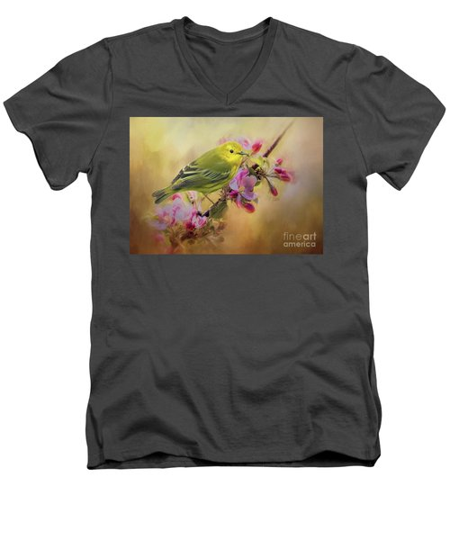 Yellow Warbler In The Flowers Men's V-Neck T-Shirt