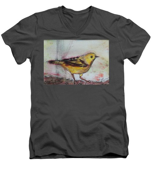 Men's V-Neck T-Shirt featuring the painting Yellow Warbler by Ruth Kamenev