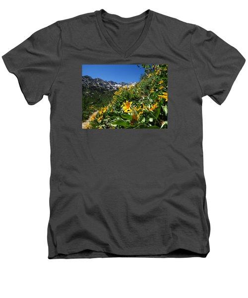 Yellow Wildflowers Men's V-Neck T-Shirt by Alan Socolik