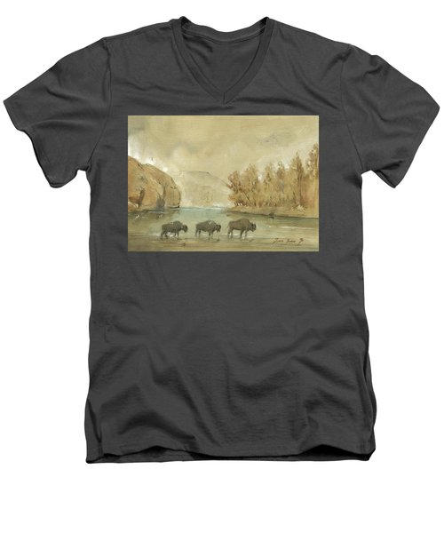 Yellowstone And Bisons Men's V-Neck T-Shirt by Juan Bosco