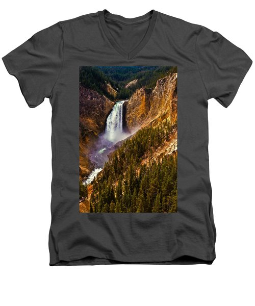 Men's V-Neck T-Shirt featuring the photograph Yellowstone Falls by Harry Spitz