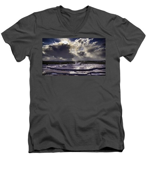 Yellowstone Geysers And Hot Springs Men's V-Neck T-Shirt by Jason Moynihan