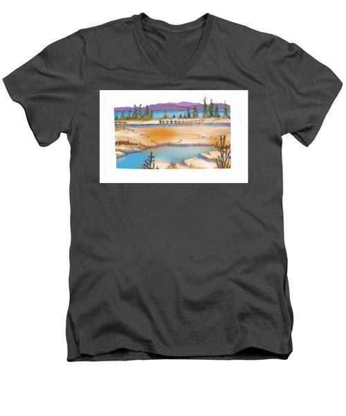Yellowstone Men's V-Neck T-Shirt by Kathryn Launey