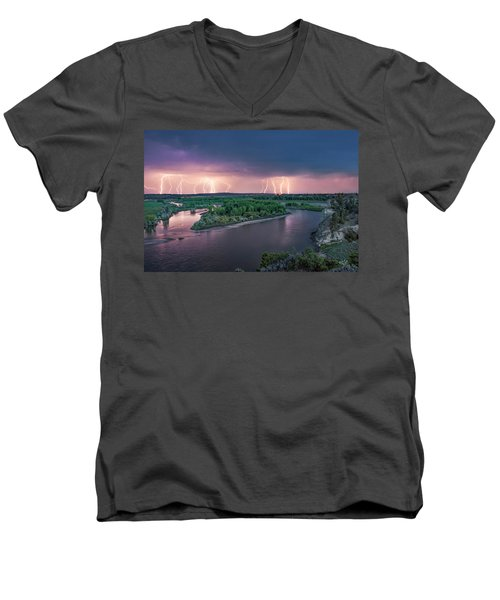 Yellowstone River Lightning Men's V-Neck T-Shirt