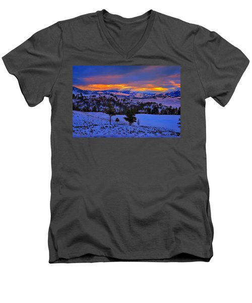 Yellowstone Winter Morning Men's V-Neck T-Shirt by Greg Norrell