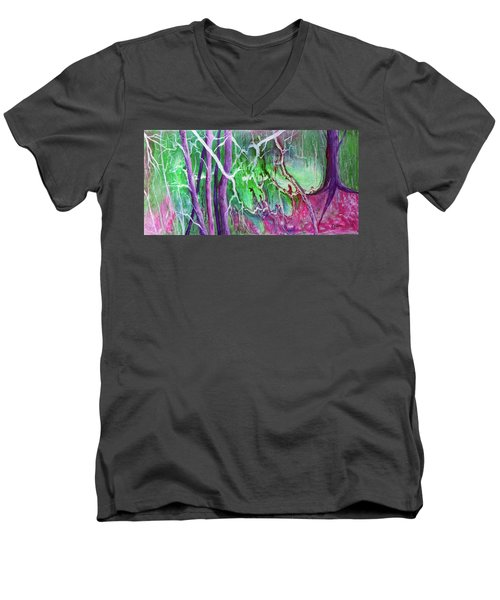 Men's V-Neck T-Shirt featuring the painting Yesterday's Dream by Susan DeLain
